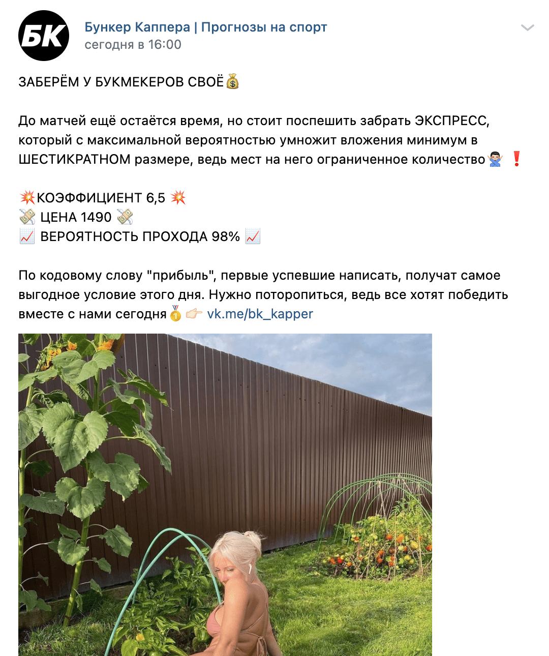 Пост в Группе ВК Бункер каппера