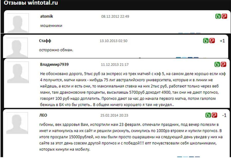 Отзывы о работе каппера Wintotal (Винтотал)