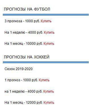 Ценовая политика каппера Stavkacity(Ставка Сити)