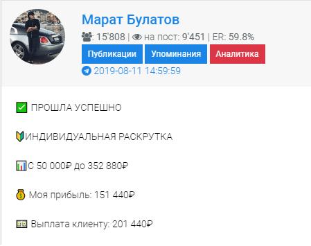 Информация о телеграм канале Марата Булатова