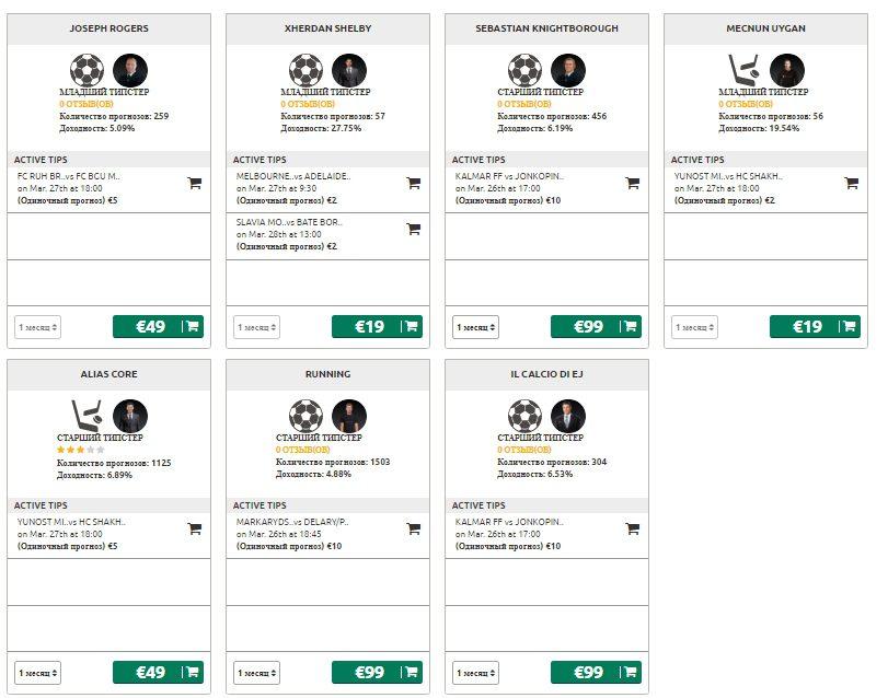 Цены и статистика на веб-портале www.betadvisor.com