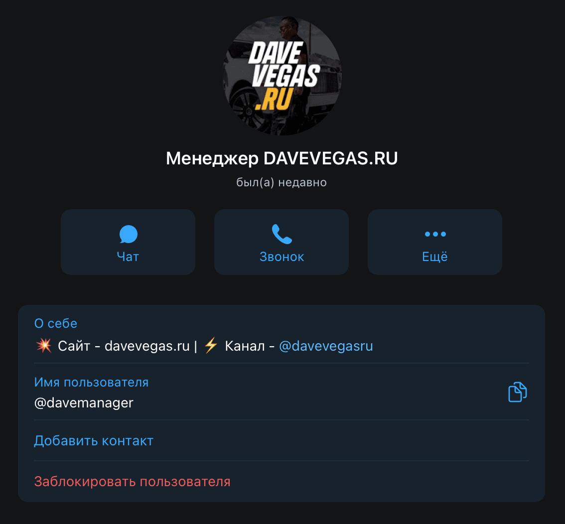 Главный менеджер проекта davevegas.ru(Дэйв Вегас)
