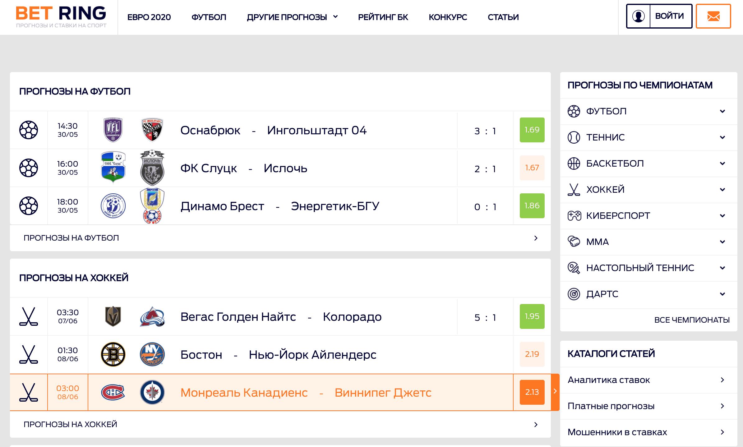 Главная страница сайта Bet-ring.ru(Бет Ринг)
