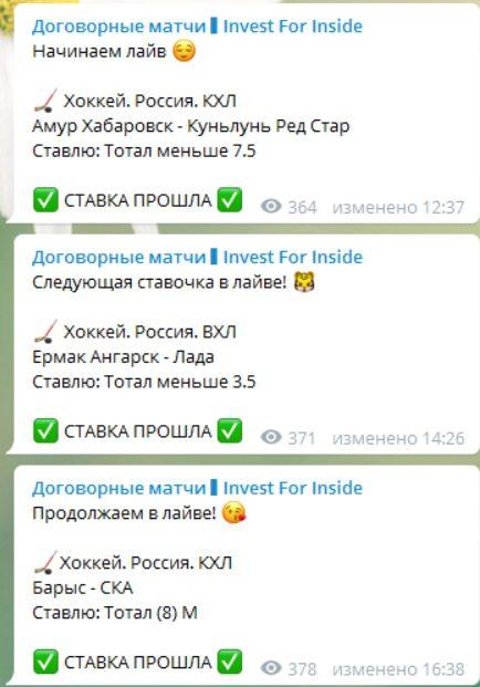 Статистика прогнозов от Invest Inside