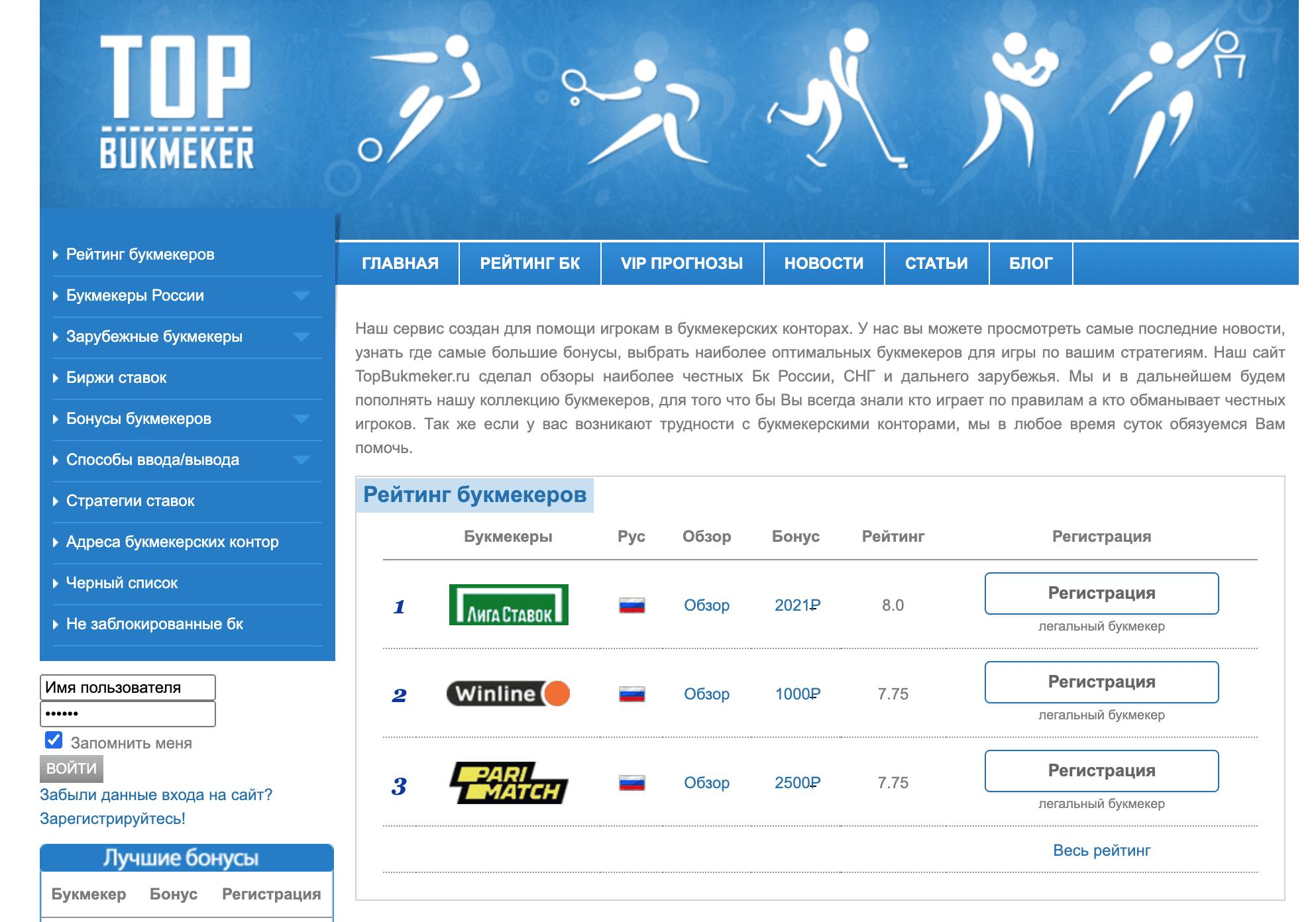 Главная страница сайта Topbukmeker.ru(Топбукмекер.ру)