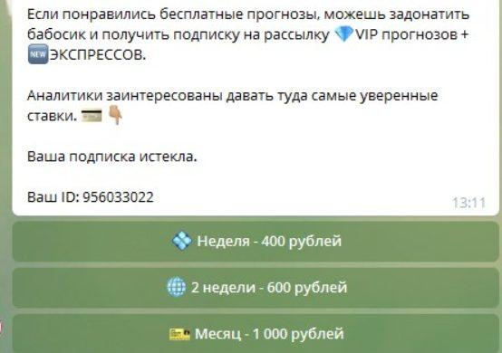 Стоимость услуг от Ставки с Русей в Телеграмме