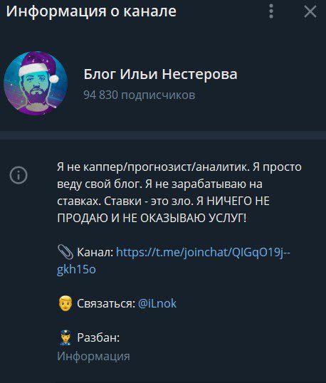 Блог Ильи Hестерова информация о канале