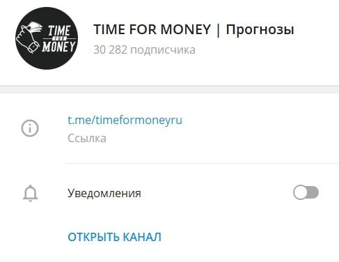 Time for Money – телеграмм с прогнозами для ставок на спорт