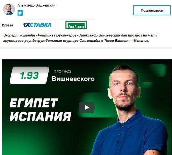 Александр Вишневский: прогнозы на футбол