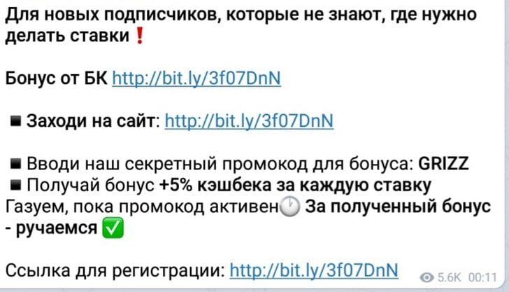 Реферальная ссылка БК в Телеграмм Странные матчи Гризли
