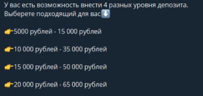 Виды депозитов и сумма выплаты бота Вишмастер бот