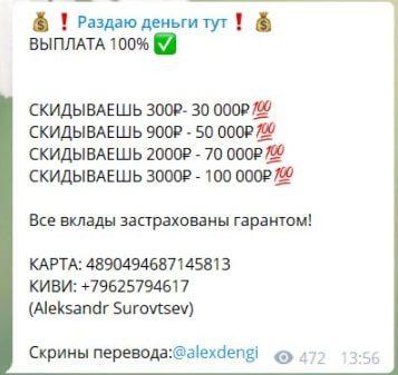 Стоимость услуг от инвестора Александр Суровцев