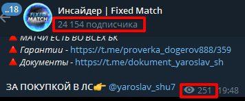 Просмотры и подписчики Fixed Matches