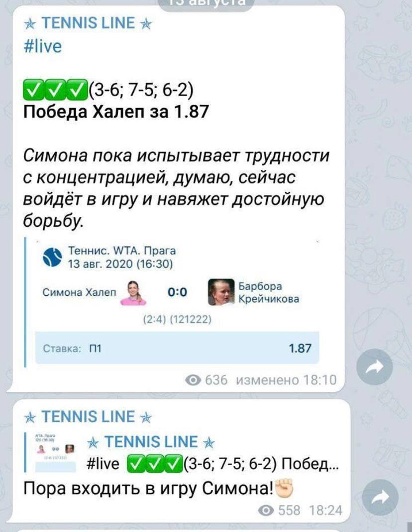 Прогнозы на теннисные турниры от Tennis Line Телеграмм
