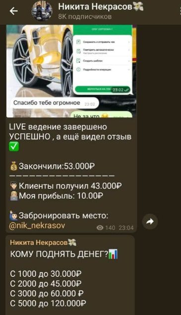 Никита Некрасов в Телеграмм - схема работы