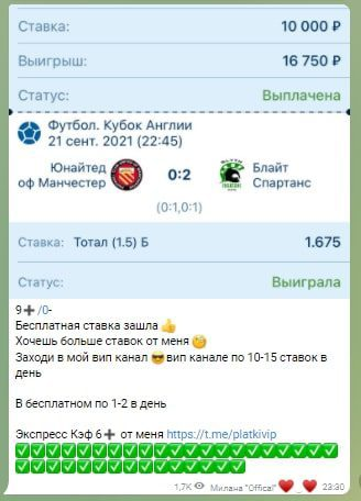 Статистика с Телеграмм портала Ставки от Миланы